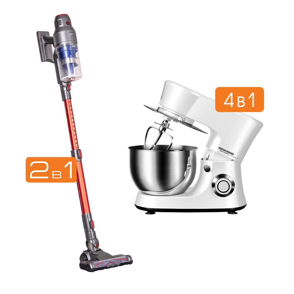 Комплект Кухонная машина REDMOND RKM-4050 + Пылесос вертикальный беспроводной REDMOND RV-UR361
